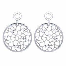 Zilveren Creoli Hangers met Zirkonia Dew van MY iMenso