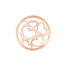 Roségoudkleurige Hartjes Cover Munt met Zirkonia's van MY iMenso