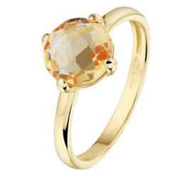 Geelgouden Ring met Oranje Citrien Edelsteen
