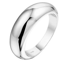 Bolstaande Zilveren Ring met Egale Afwerking voor Dames