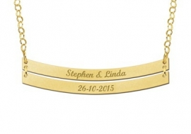 Dubbele Bar Naamketting van Goud Names4ever GNKB006