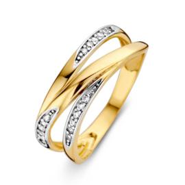 Excellent Jewelry Geelgouden Ring met Zirkonia Rijen
