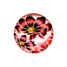 Rood met Zwarte Emaille Bloem Munt van Zilver van MY iMenso