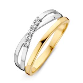 Excellent Jewelry Bicolor Ring met Witgouden Kruis en Zirkonia's