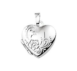 Hartvormig Foto Medaillon met Decoratief Bloempatroon
