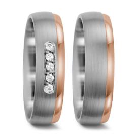 Matte Zilveren en Roségouden Trouwringen Set met Vijf Diamanten