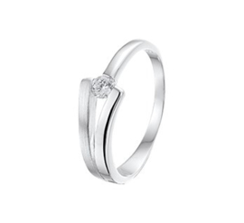 Zilveren Zirkonia Ring met Matte Y-vorm