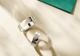 Zilveren ringen set met twee vingerafdrukken   Names4ever