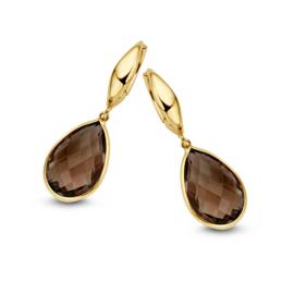 Excellent Jewelry Geelgouden Creolen met Rookkwarts