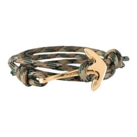 Hooked Nylon Koord Armband Groen, Zwart, Beige met Anker