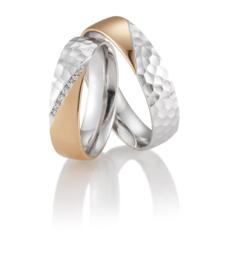 Brede Osun Bewerkte Trouwringen Set met Diamanten