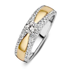 Excellent Jewelry Bicolor Ring met 0,52 crt. Briljant