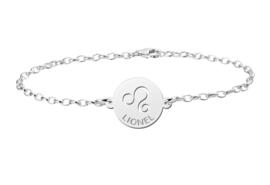 Zilveren Armband met Ronde Leeuw Sterrenbeeld Naamhanger > Names4ever