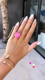 Ring met Fuchsia Agaat Natuursteen van Sujasa
