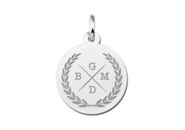Zilveren Initialen Hanger met Krans | Names4ever