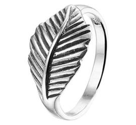 Gedecoreerde Blad Ring van Geoxideerd Zilver