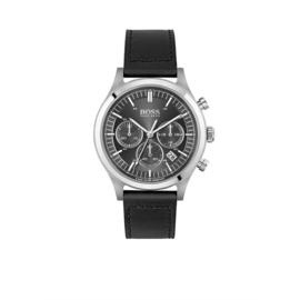 Hugo Boss Horloge Metronome Zilverkleurig Horloge met Zwarte Band van Boss