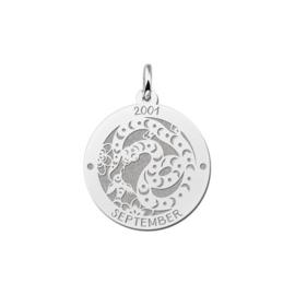 Ronde Chinese Sterrenbeeld Slang Hanger van Zilver