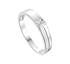 Vlakke Zilveren Ring met Zirkonia en Gediamanteerde Strook