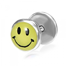 Piercing oorbellen / Smiley in geel en zwart