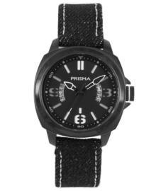 Racer Jongens Horloge van Edelstaal met Zwarte Canvas Horlogeband