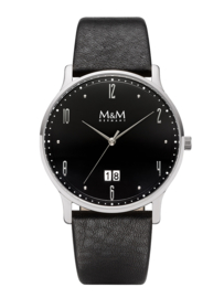 Basic Heren Horloge met Zwarte Wijzerplaat en Zwart Lederen Horlogeband van M&M