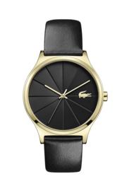 Lacoste Goudkleurig Nikita Dames Horloge met Zwarte Silicone Horlogeband