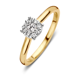 Excellent Jewelry Bicolor Ring met Opvallende 0,25 crt. Briljant