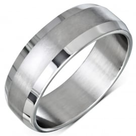 Matte Band Ring in Steel SKU83637