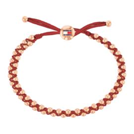 Verstelbare Rode Armband met Roségoudkleurige Bolletjes van Tommy Hilfiger TJ2780007