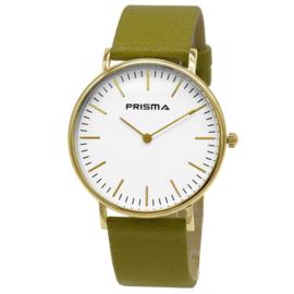 Prisma Slimline Goudkleurig Unisex Horloge met Groene Horlogeband