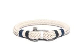 Witte Touw Armband met Edelstalen Sluiting van Frank 1967