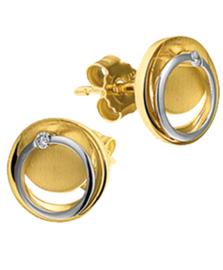 Gouden Oorknoppen met Witgouden Cirkel en 0.02 ct Diamant
