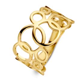 Excellent Jewelry Geelgouden Ring met Opengewerkte Rondjes