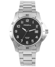 Zilverkleurig Horloge voor Heren met Zwarte Wijzerplaat en Witte Cijfers