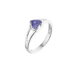 Zilveren Ring voor Kinderen met Paars Amethist Hart