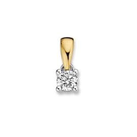 Excellent Jewelry Geelgouden Hanger met 0,16 crt. Briljant