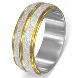 Goud- zilverkleurige Graveer Ring