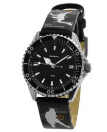 Zwart Happy Time Kids Horloge met Zwarte Wijzerplaat