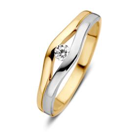 Excellent Jewelry Ring van Geelgoud met Witgoud en Zirkonia
