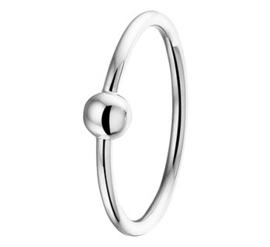 Slanke Zilveren Ring met Bolletje en Rhodium