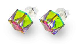 Stevige Regenboog Swarovski Kubus Oorstekers van Spark Jewelry
