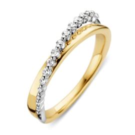 Excellent Jewelry Geelgouden Ring met Witgouden Strook met Diamanten