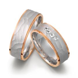 Matte Bewerkte Zilveren Trouwringen Set met Roségoud en Diamanten