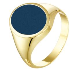 Moderne Ovale Blauwe Lagensteen Zegelring van Massief Geelgoud