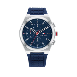 Tommy Hilfiger Connor Heren Horloge met Blauwe Siliconen Band