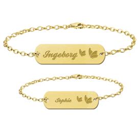 Gouden Moeder Dochter Armbandjes Set met Vlinders > Names4ever