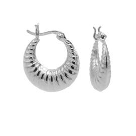 Zilveren Geribbelde Ronde Oorringen   Karma Jewelry