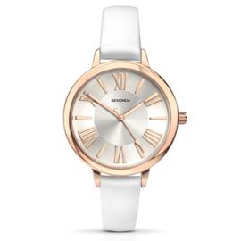 Roségoudkleurig Dames Horloge met Witte Horlogeband van Sekonda