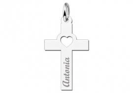 Names4ever Zilveren Hart Kruishanger met Naam